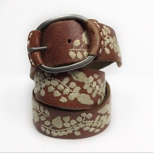 Abercrombie & Fitch Brown Leather Embroidered Belt